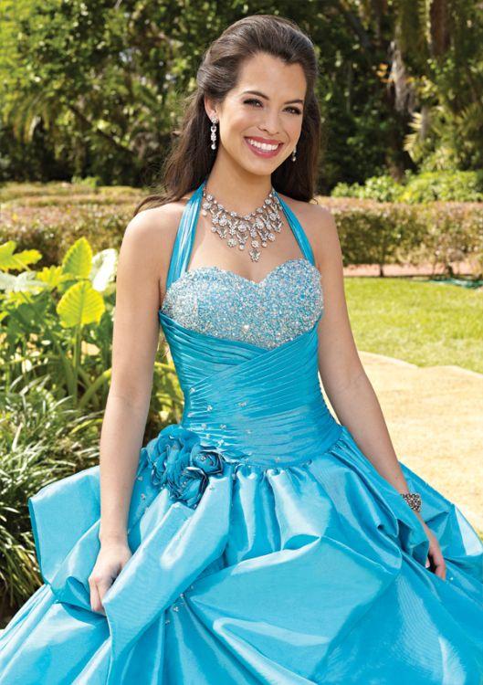 12ce24622 Vestido de 15 años Azul Turquesa