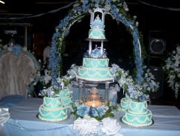 pastel para 15 años celeste