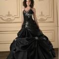 Vestido de 15 años Negro moderno con bordados Plata