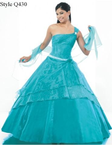 Vestido de 15 años Turquesa escote Diana