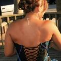 Vestido de 15 años Azul y Negro strapless
