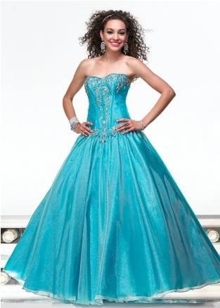Vestido de 15 años en Tafetán Azul Turquesa
