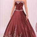 Vestido de 15 años Rojo vino bordado