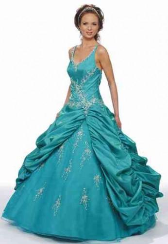 Vestido de 15 años azul turquesa con tiras