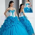 Vestido de 15 anos Azul Turquesa y Blanco con chal