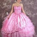 Vestido de 15 años rosa claro con capas de tul