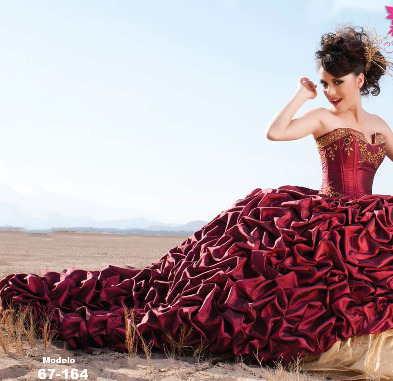 Vestidos De Xv Años Dorados Con Rojo