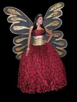 vestidos de 15 años rojo y dorado con alas