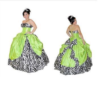 vestidos de 15 años cebra y verde