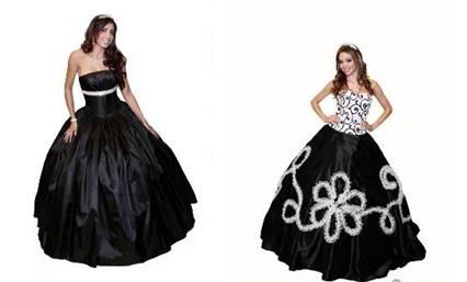 vestidos de 15 años negro y blanco