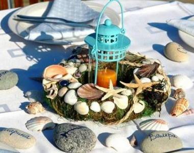 centro de mesas oceano con conchas